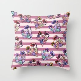 Modern geometric pink lavender ivory striped cactus floral Throw Pillow