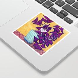 Purple Shamrock Houseplant Painting Sticker