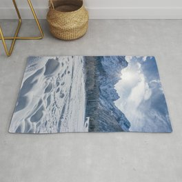 Sunny winter day at snowy frozen lake Fusine Rug