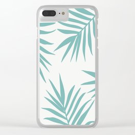 Delicate Green Tropical Leaves Pattern Clear iPhone Case