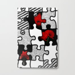poppylove with puzzle design Metal Print