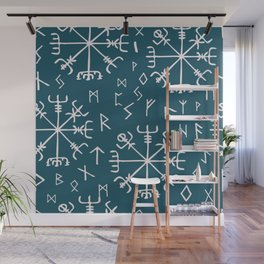 Viking compass and runes Wall Mural
