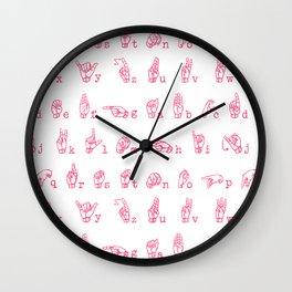 ASL Alphabet // Pink Wall Clock