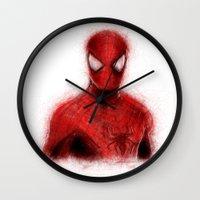 spider man Wall Clocks featuring Spider-Man by KitschyPopShop