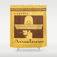 cigarette Shower Curtains featuring Mexicano - Vintage Cigarette by Fernando Vieira