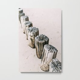 Poles on the beach, pastel travel photo print, the Netherlands Metal Print