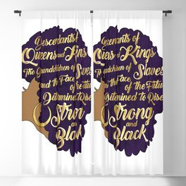 Black Girl Magic - Descendants of Queens and Kings Determined To Rise Faux Gold Afro Woman Blackout Curtain