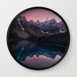 Moraine Lake Sunset Wall Clock