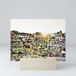 Sassi di Matera: view with sun Mini Art Print