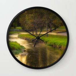 Golden River During the Golden Hour Wall Clock