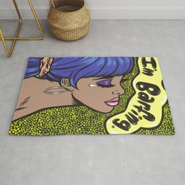"""I'm Barfing"" Sad Comic Girl Rug"