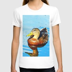 Duck in a pond LARGE White Womens Fitted Tee