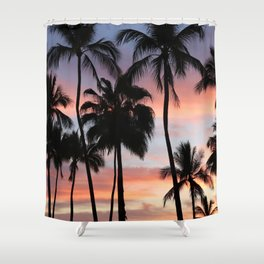 Tropical Palm Trees Sunset in Mexico Shower Curtain