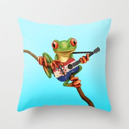 Tree Frog Playing Acoustic Guitar with Flag of Croatia Throw Pillow