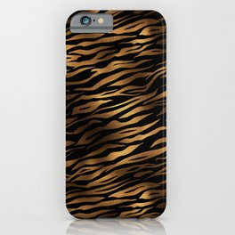 Gold and black metal tiger skin iPhone Case