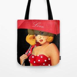 Pin-up Girl under red umbrella Tote Bag