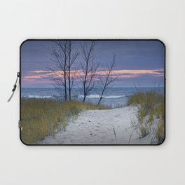 Sunset Photograph of Trees and Dune with Beach Grass at Holland Michigan Laptop Sleeve