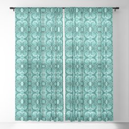 Teal & White Curly Spirals Sheer Curtain
