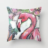 Mr. Flamingo Throw Pillow