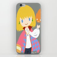 calcifer iPhone & iPod Skins featuring Howl and Calcifer by Mayying