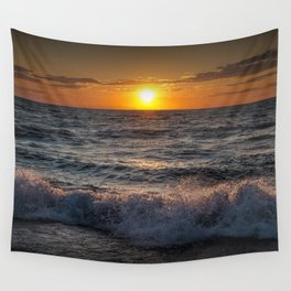 Lake Michigan Sunset with Crashing Shore Waves Wall Tapestry