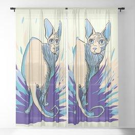 Sphynx Cat - Blue Purple Vanilla - Cat Lover Sheer Curtain
