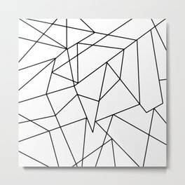 Simple Modern Black and White Geometric Pattern Metal Print