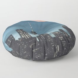 New York City Blood Moon Skyline Floor Pillow
