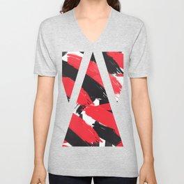 Modern Abstract Black Red Brush Strokes Pattern Unisex V-Neck