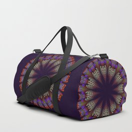 Floral mandala with tribal patterns in the petals Duffle Bag