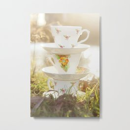 Three little teacups Metal Print