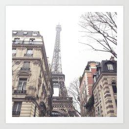 Paris streets, Eiffel tower, city skyline, industrial fine art photo, shabby chic Art Print