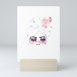 Speechless Girl - My pink sadness in watercolors Mini Art Print