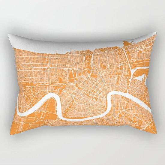New Orleans map orange Rectangular Pillow