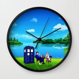 Tardis And The Doctor Breakfast Wall Clock