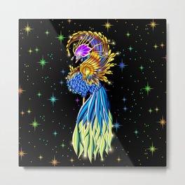 Blue and Golden Paradise Bird Metal Print