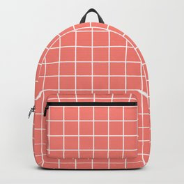 Coral pink - pink color - White Lines Grid Pattern Backpack