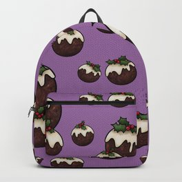 Christmas Pudding Feast with Holly and Berries, Purple Backpack