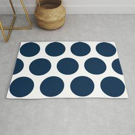 Large Polka Dots: Navy Blue Rug