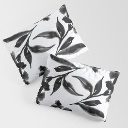 Elegant Ink Floral Pillow Sham
