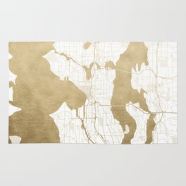 Seattle White and Gold Map Rug