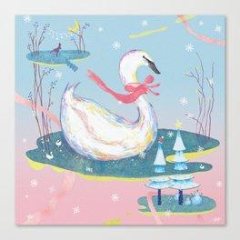 Christmas Swans Canvas Print