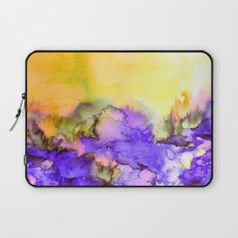 INTO ETERNITY, YELLOW AND LAVENDER PURPLE Colorful Watercolor Painting Abstract Art Floral Landscape Laptop Sleeve