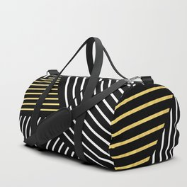 A Linear Black Gold Duffle Bag