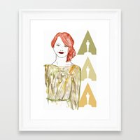 emma stone Framed Art Prints featuring Emma by Kats Illustration