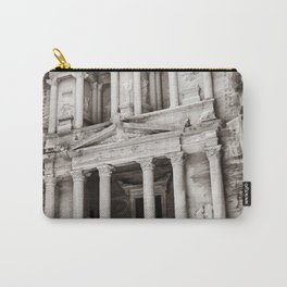 Camels at Petra | Black and White Stunning Stone Monument Hidden Lost City Treasury Carved Cliff Carry-All Pouch