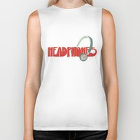 headphones Biker Tanks featuring Headphones by Zachary Perry
