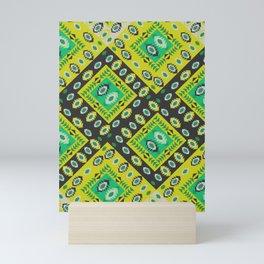 Happy ethnic diamond in green Mini Art Print