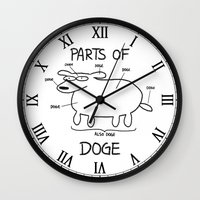 doge Wall Clocks featuring PARTS OF DOGE by Yiji