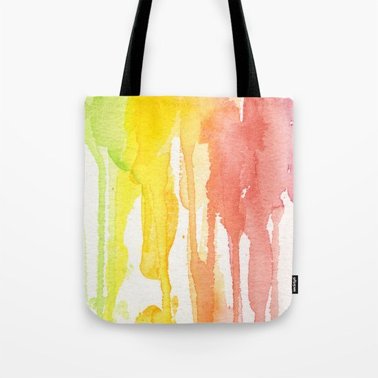 Rainbow Watercolor Texture Pattern Abstract Tote Bag